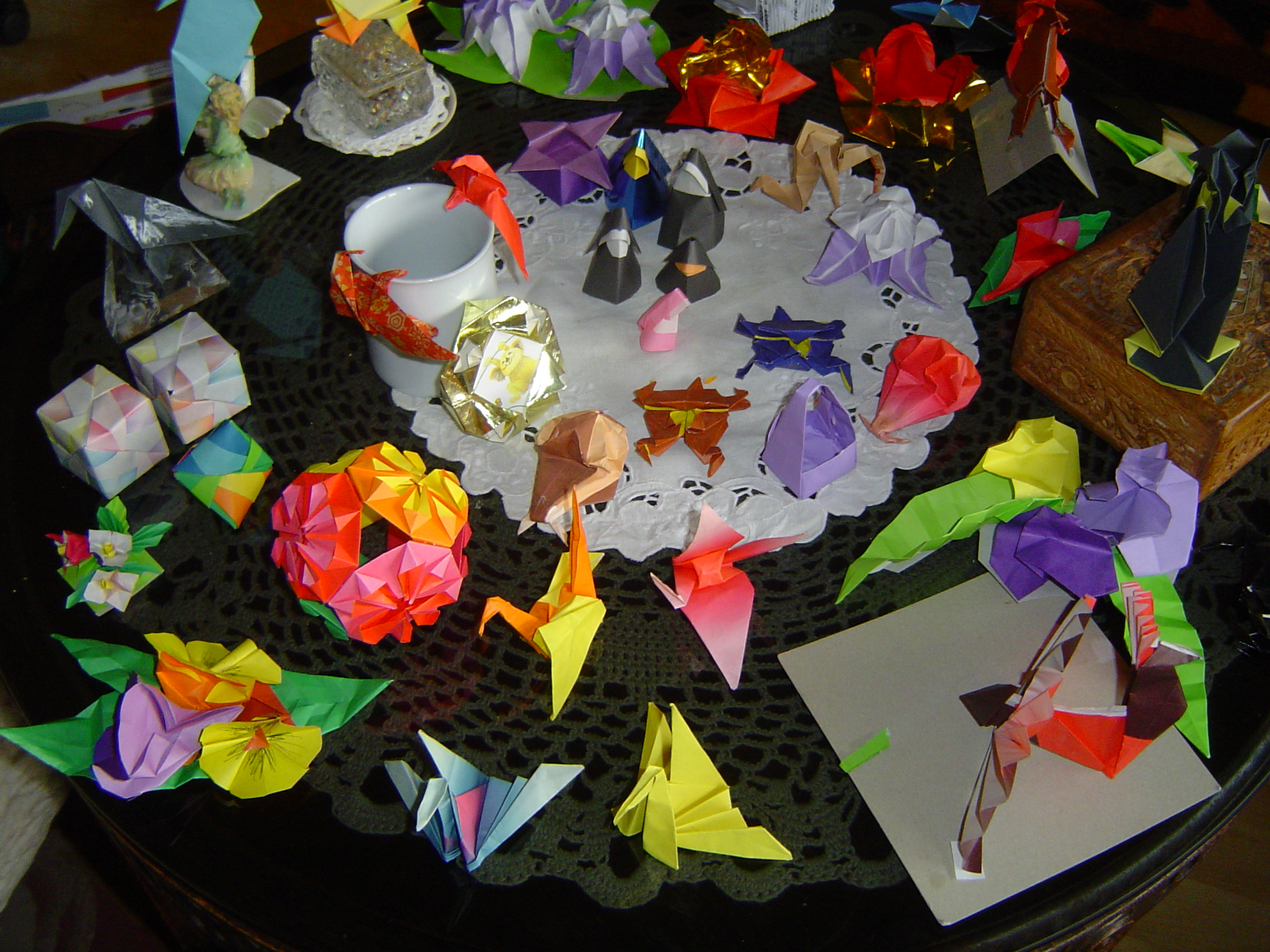 Origami paper art composition